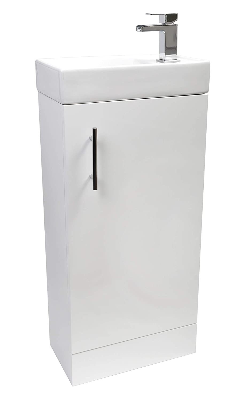 White Gloss Vanity Sink Unit Ceramic Basin Bathroom Storage Furniture 400mm Waterfall Tap BSM Marketing