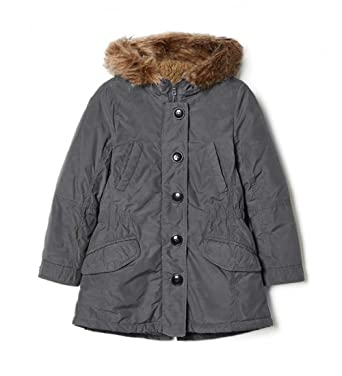 Girls Grey Parka Jacket Coat Faux Fur Trim Hood Lined Age 1 - 14 ...