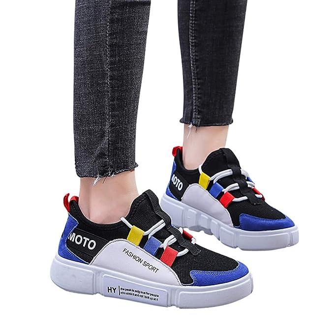 Zapatillas de Running para Mujer,JiaMeng Zapatos de Moda Casual con Cordones de Suela cómoda y Calzado Deportivo