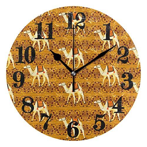 Senuu Classic Desert Wild Llama Round Wall Clock Non Ticking Battery Operated Quartz Clocks Decor for Home Living Room Bedroom Office -