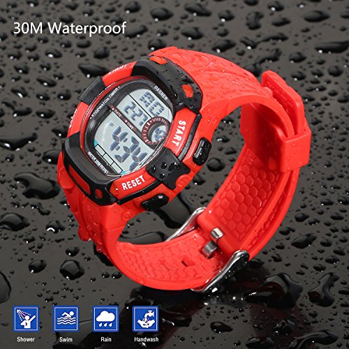 Kids Boys Girls Digital Multi Function Sports Water Resistant 7-Colors Backlight Wrist Watches (RED) by HOWOD (Image #3)
