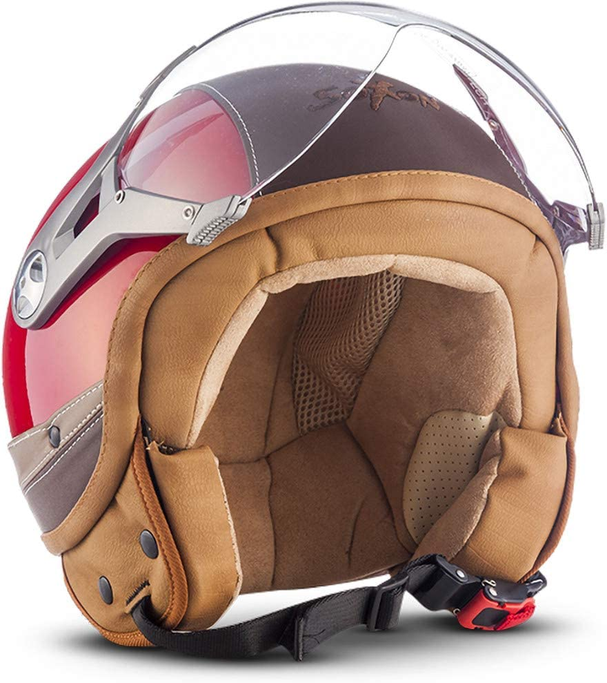 Blue /· S ECE Visor Leather Design Soxon SP-325 Urban Open Face Helmet 55-56cm