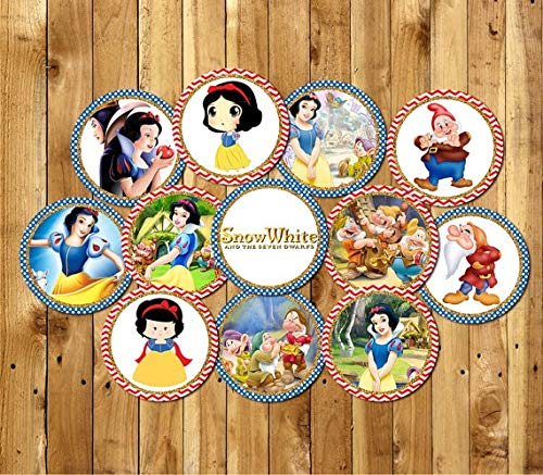 Best Quality - Party DIY Decorations - Princess Snow White Party Circles Sticker,Goodie Bag Toppers,Birthday Party Decorations Kids Sticker for Birthday Candy tag - by LINAE - 1 PCs for $<!--$33.99-->