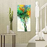 JLXart Canvas Wall Art Green Tree Woods Canvas Print Paintings for Wall art for living room Artwork Large Size:20x40inch