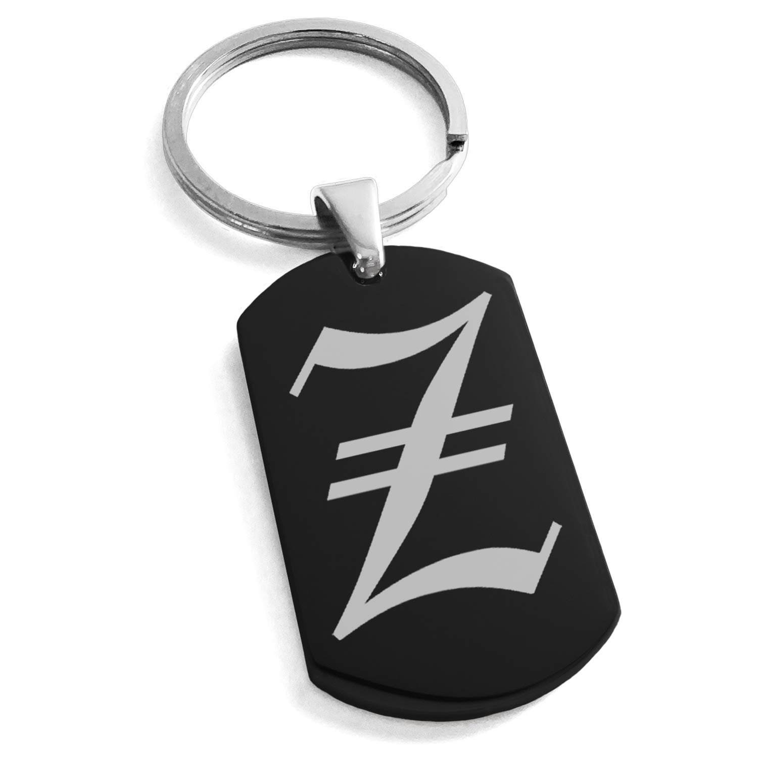 Tioneer Black Stainless Steel Letter Z Initial Old English Monogram Engraved Dog Tag Keychain Keyring