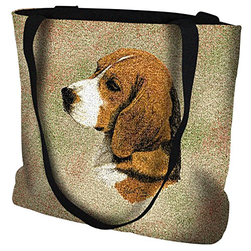 - Beagle Hand Finished Large Woven Tote Bag Cotton USA ()