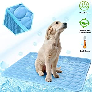 MeiLiMiYu Dog Cooling Mat, Pet Self Cooling Pad Dog Cooling Blanket Washable Ice Silk Mat for Kennels, Crates, Beds, Travel, Couch, Car Seat (28 x 22 inches, Blue)