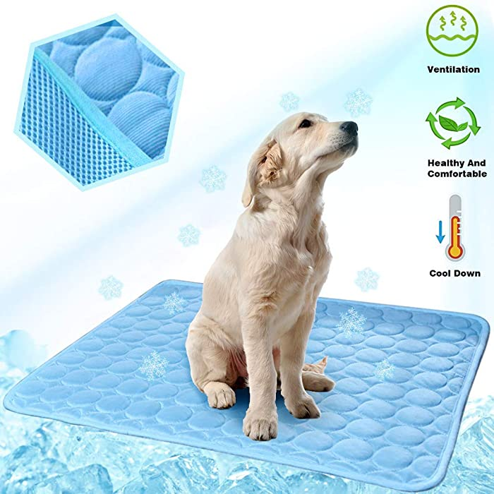 MeiLiMiYu Dog Cooling Mat, Pet Self Cooling Pad Dog Cooling Blanket Washable Ice Silk Mat for Kennels, Crates, Beds, Travel, Couch, Car Seat (40 28 in)