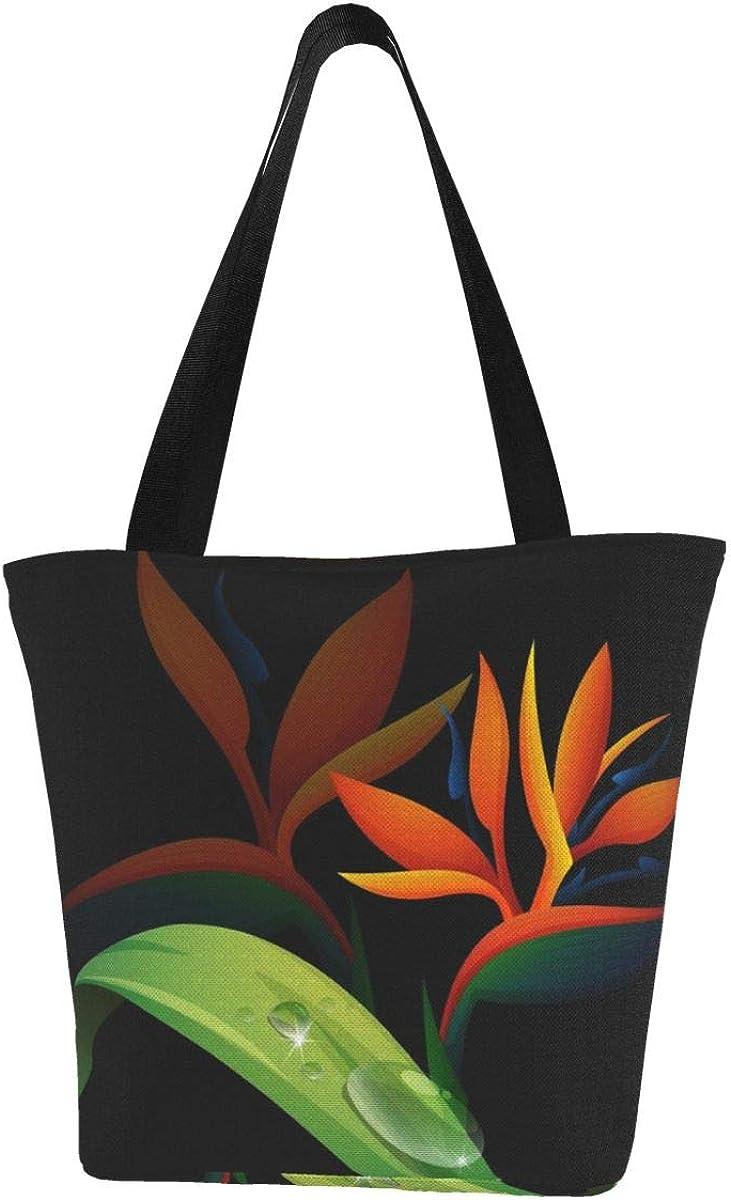 Bolso de lona personalizable, diseño de pájaro del paraíso, flor sobre fondo negro, lavable, bolsa de hombro para mujer