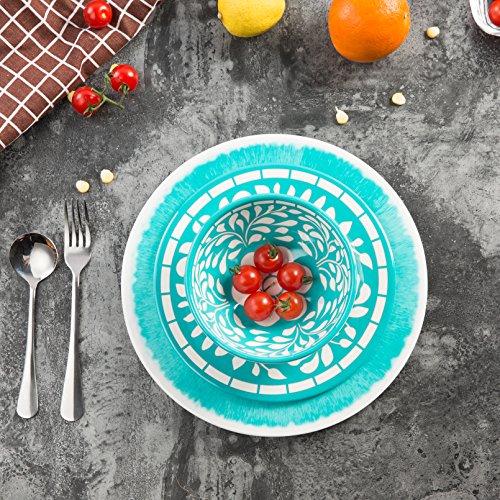 Dinnerware Set for 4 - Melamine 12 Piece Dinner Dishes Set for Camping Use, Lightweight, Dishwasher Safe, Green by Yinshine (Image #5)