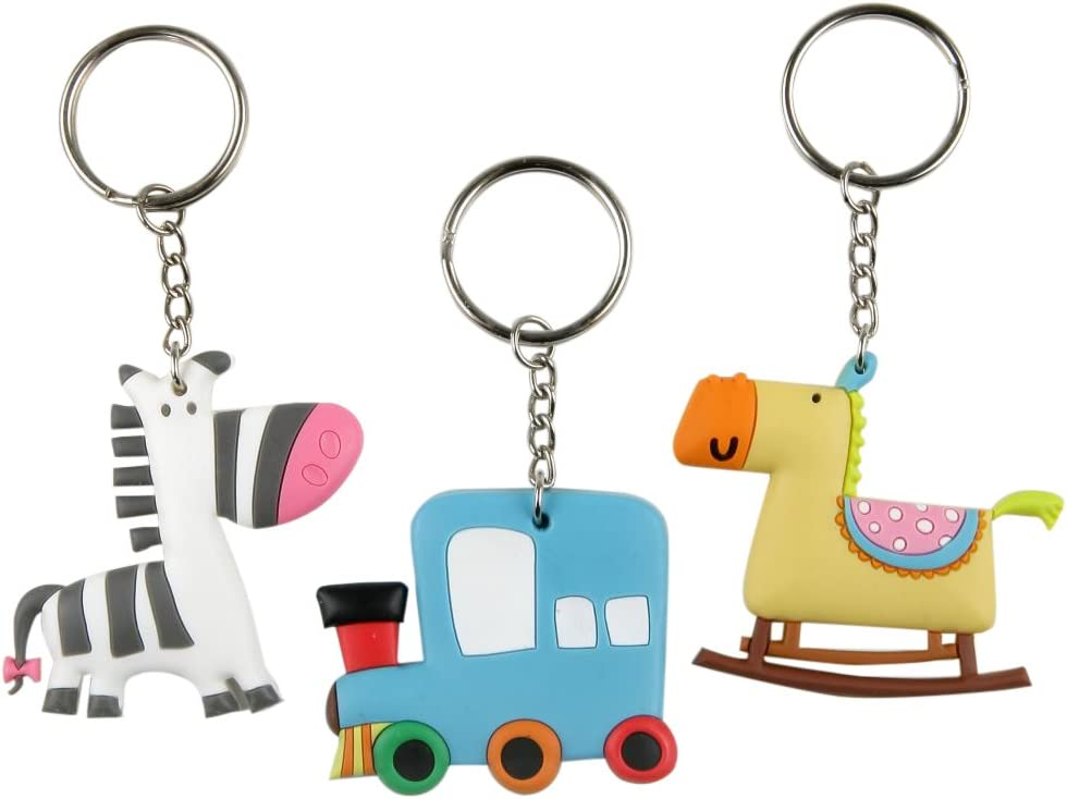 Mopec Llavero Infantil con Forma de Tren/Cebra/Caballo, Pack de 3 Unidades, Multicolor, 0.40x5.50x10.00 cm