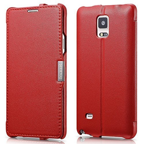 Galaxy Note 4 Case, [Luxury Series] [Genuine Leather] Flip Cover Folio Case [Simple Stand], Corrected Grain Leather Case [1 Card Slot] with Magnetic Closure for Samsung Note 4 (Red) -