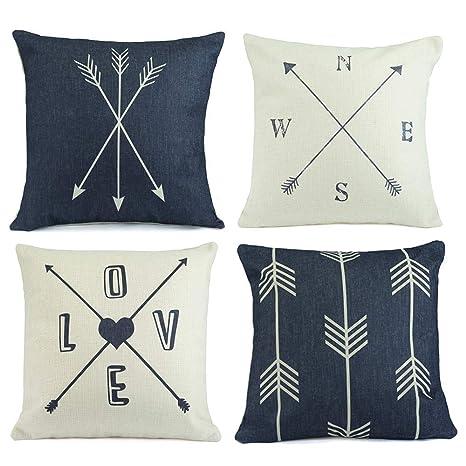 Hermosa Collection Contemporary Decorative Premium Throw Pillow Covers (4  Pc. Set) 18 x 18 Cotton Linen Squares Boho Neutral Colors Living Room ...
