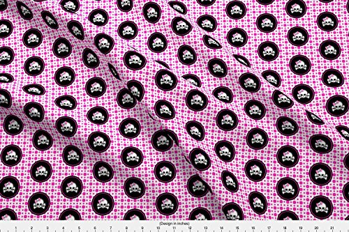 (Spoonflower Girly Skull Fabric 2X2 Pink White Girly Skull by Darkrose Printed on Kona Cotton Ultra Fabric by The Yard)