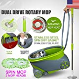 Marketworldcup 360° Spin Rotating Head Easy Magic Floor Mop Bucket with 2 Microfiber Heads