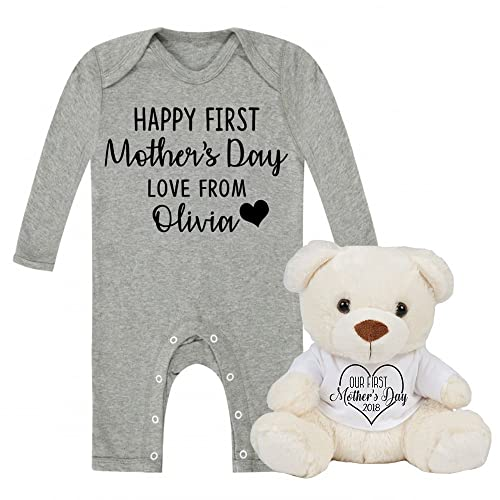 Personalised happy first mothers day love from babygrow and teddy personalised happy first mothers day love from babygrow and teddy set baby gifts newborn gifts 2018 negle Choice Image