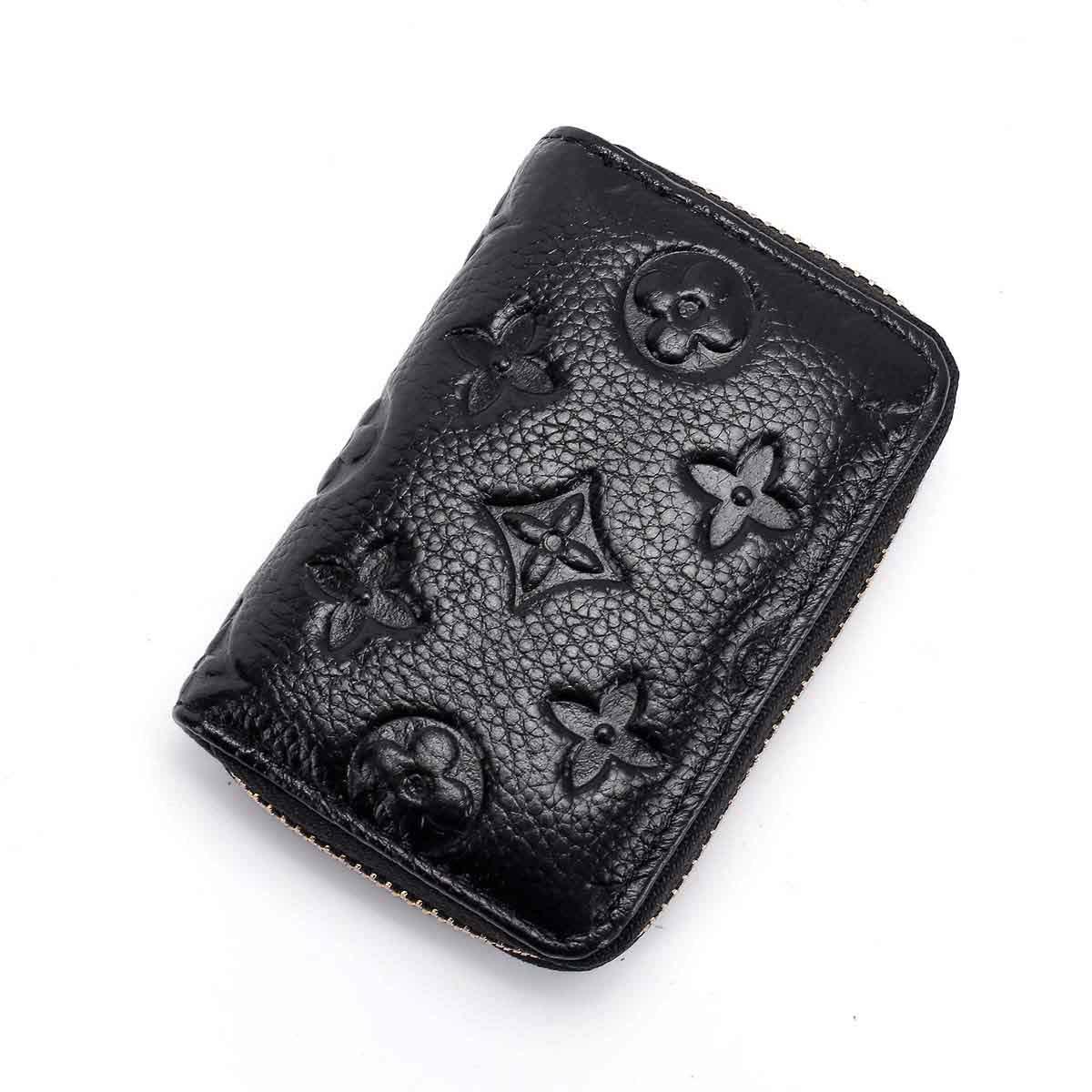 Auner Women RFID Blocking Credit Card Holder Leather Cute Small Zipper Wallet - Black by Auner