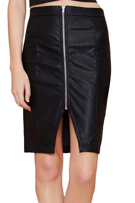 Bigood Mode Modisch Damen Röcke Sommerkleid Minikleid Minidress Minirock Reißverschluss Deko Schwarz