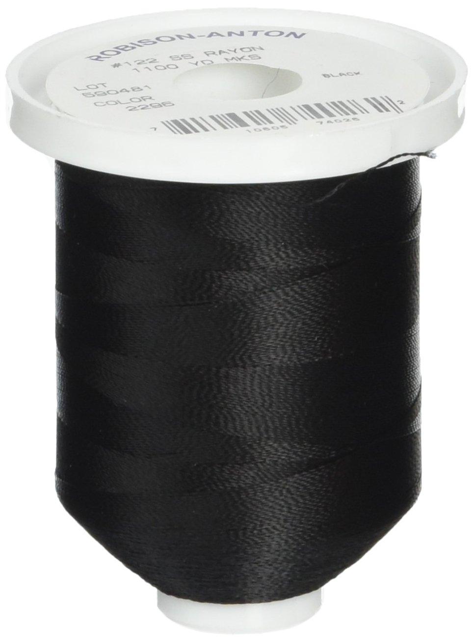Robison-Anton Rayon Super Strength Thread, Solid Colors, 1100-Yard, Black AMERICAN & EFIRD 300S-2296