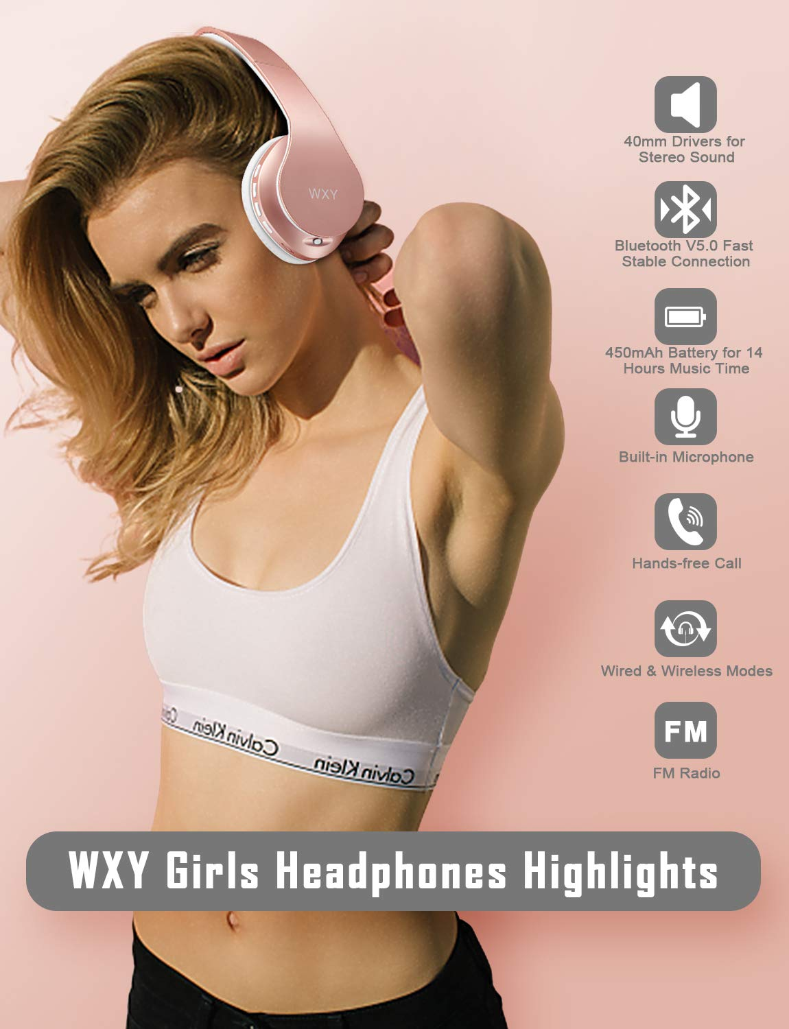 Over Ear Bluetooth Headphones, WXY Girls Wireless Headset V5.0 with Built-in Mic, Micro TF, FM Radio, Soft Earmuffs Lightweight for iPhone Samsung PC TV Travel Rose Gold