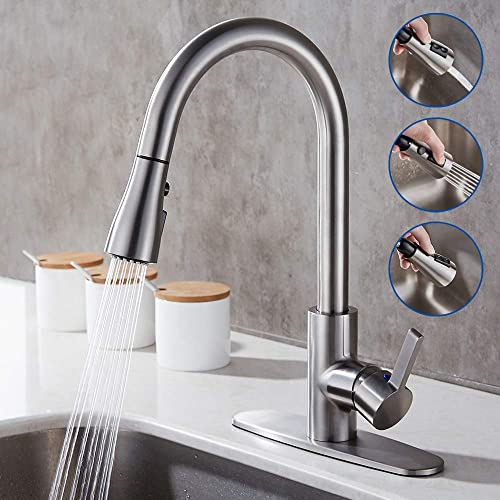 GERUIKE Single Handle Stainless Steel Kitchen Sink Faucets Brushed Nickel Pull Out Kitchen Faucets with Pull Down Sprayer