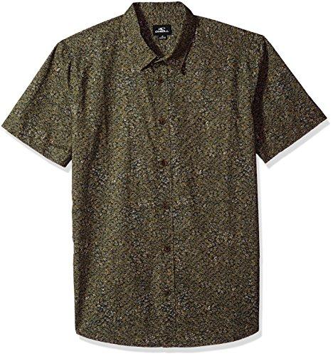 O'Neill Men's Modern Fit Cotton Short Sleeve Woven Shirt, Livingston Asphalt, - Livingston Shop