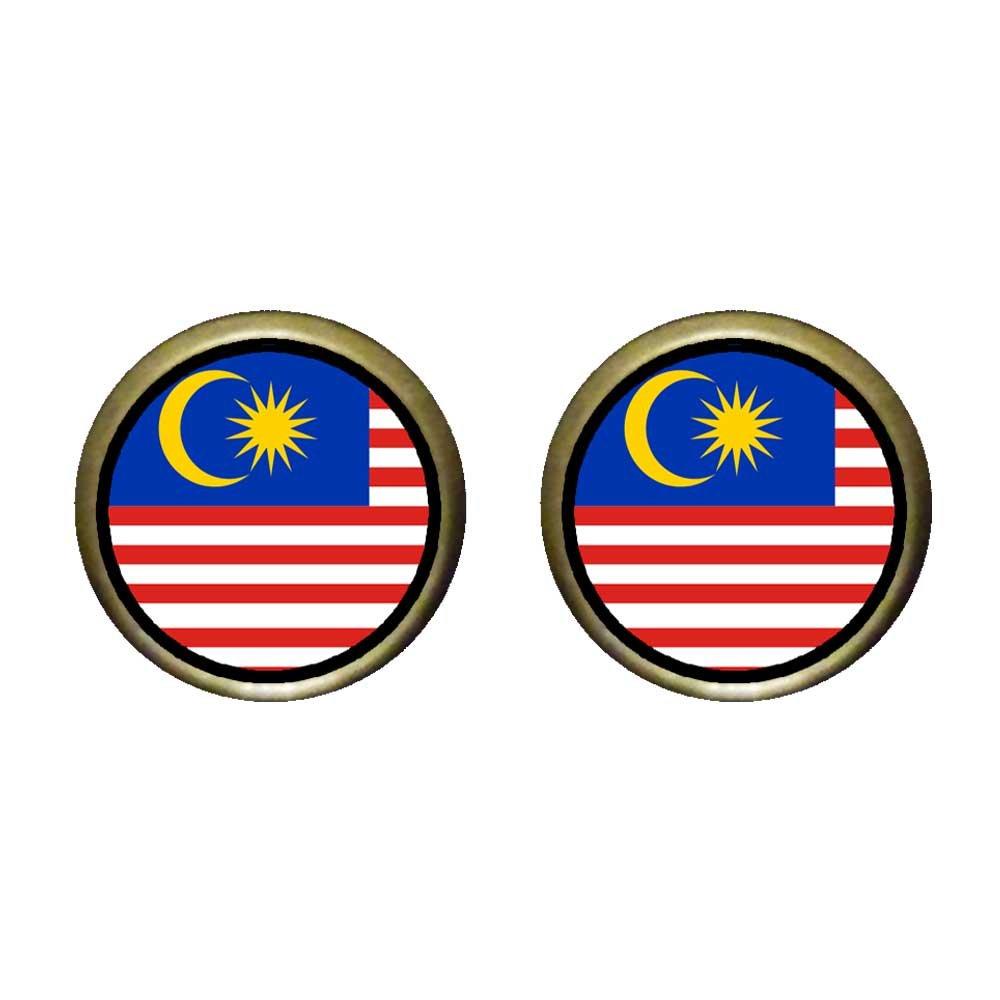 GiftJewelryShop Bronze Retro Style Malaysia flag Photo Stud Earrings 12mm Diameter