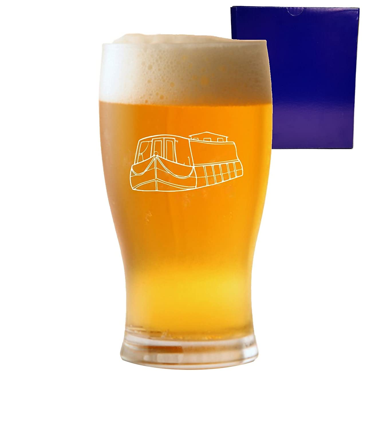 1 Pint Tulip Beer Glass With Canal Boat Design and Gift Box Lapal Dimension