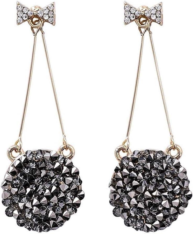 NOBRAND Pendientes de Diamantes Charm Preferred Black Loyal Pendientes Pendientes con dijes de Mujer Distinguido (Color : Silver Needle)