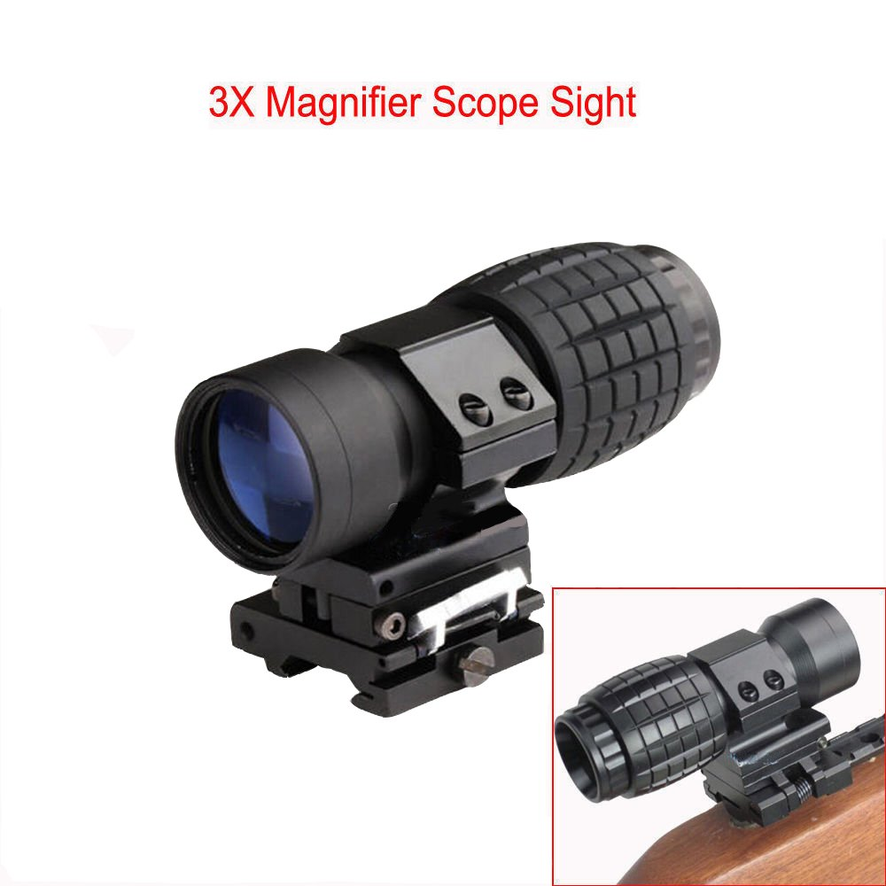 None Hunting Tactical 3X Magnifying Glass w/flip, Side Mount fit Reflex,Suitable Reflection Holographic Sight AR 15 Accessories Lens Covers Red Dot Fit 551 552 553G Hunting Shooting by None