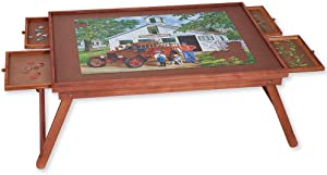 Bits and Pieces - Jumbo 1500 pc Wooden Puzzle Plateau Lounger with Four (4) Storage Drawers - Folding Jigsaw Puzzle Table