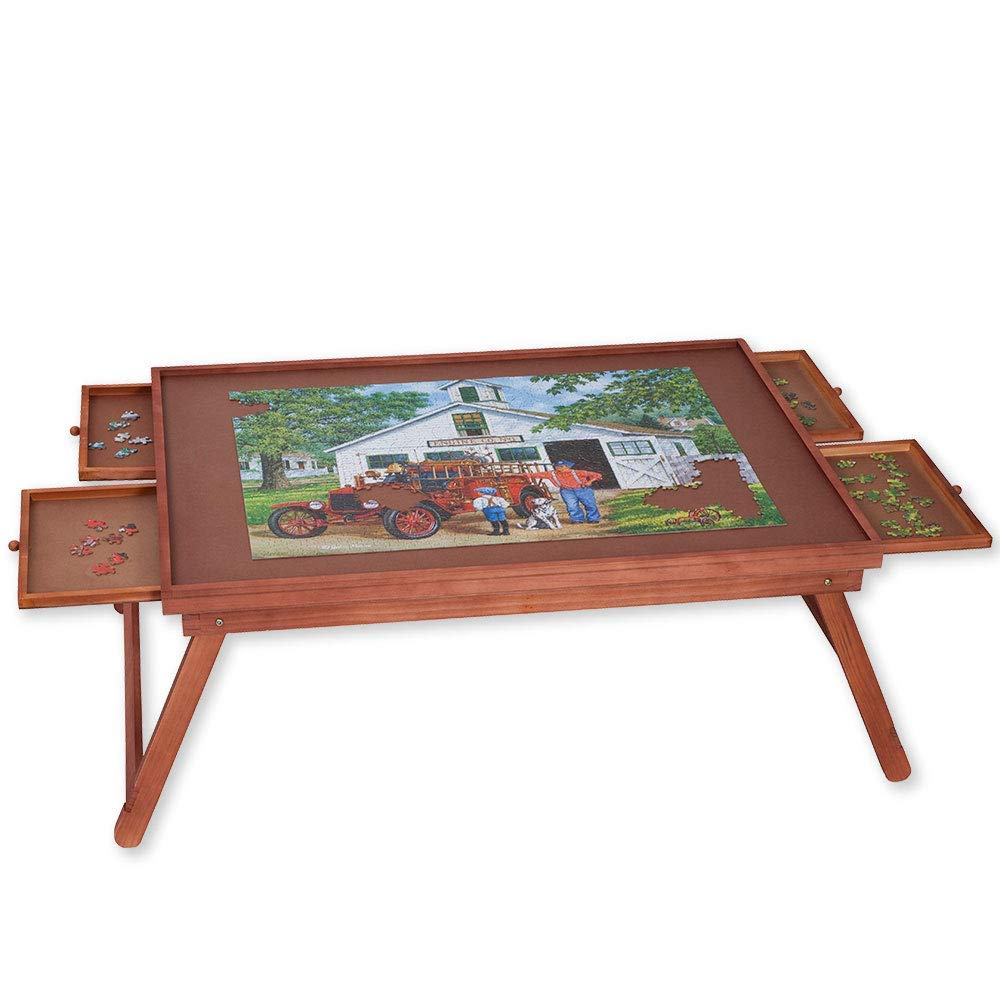 Bits and Pieces - Jumbo Puzzle Wooden Plateau Lounger with Cover-Smooth Fiberboard Work Surface - Puzzle Storage System
