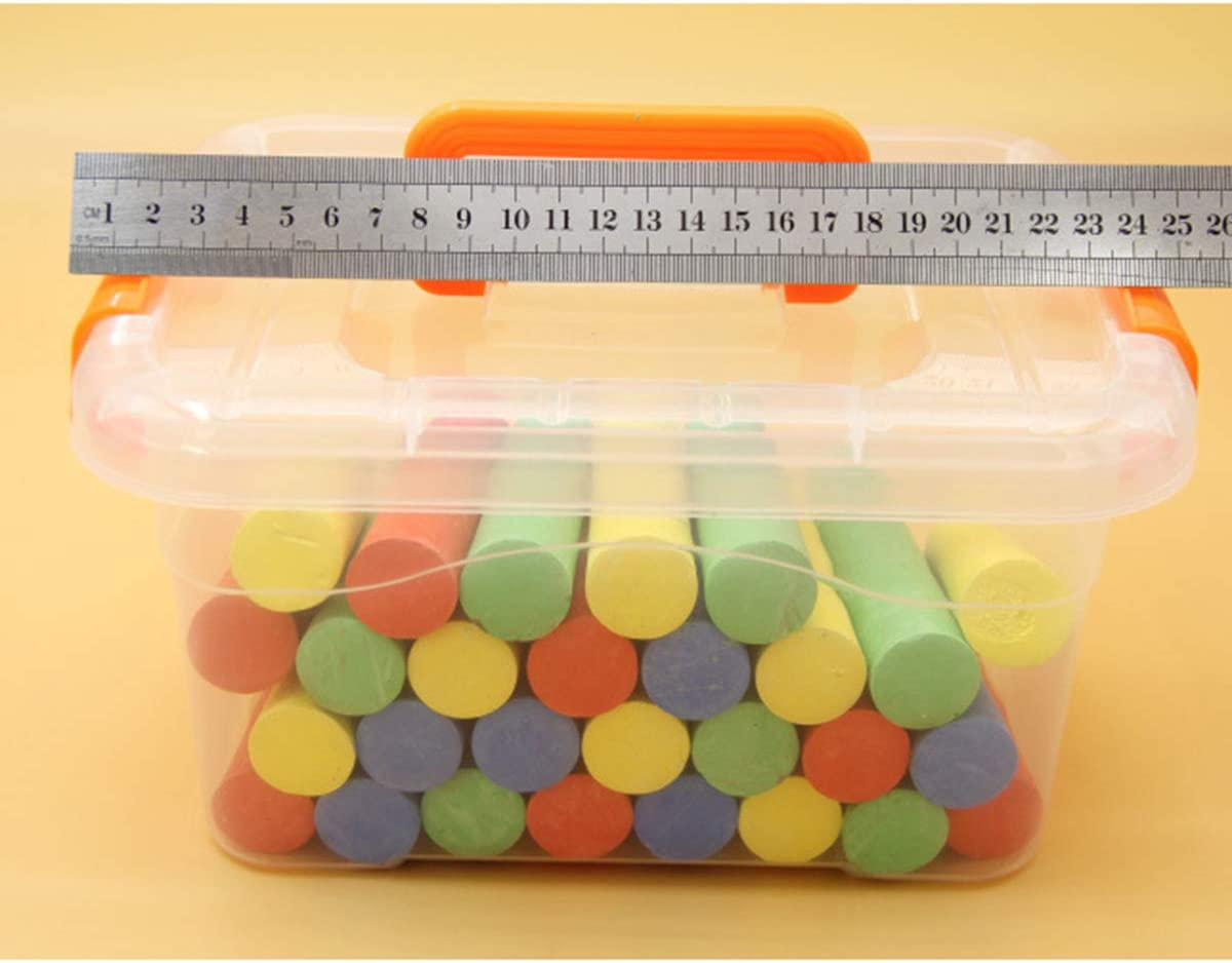 Yuehuam 50 Count Sidewalk Chalk Set with Carry Box Washable Colored Chalk Kids Outdoor Fun Chalk PaintToy Set