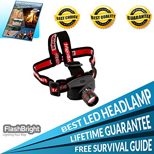 FlashBright LED Headlamp Extremely Bright, Lightweight, Adjustable & Comfortable One Size Fits All Made of Military Grade Aluminum to Last a Lifetime