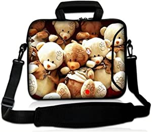 Fashion Ultra-light Anti-Shock Neoprene Unique style 14 14.1 inch Netbook/Ultrabook/MacBook Air Pro Retina Display/Laptop/Computer Briefcase Pouch Sleeve Carrying Case Cover Tote Handle bags(bear)