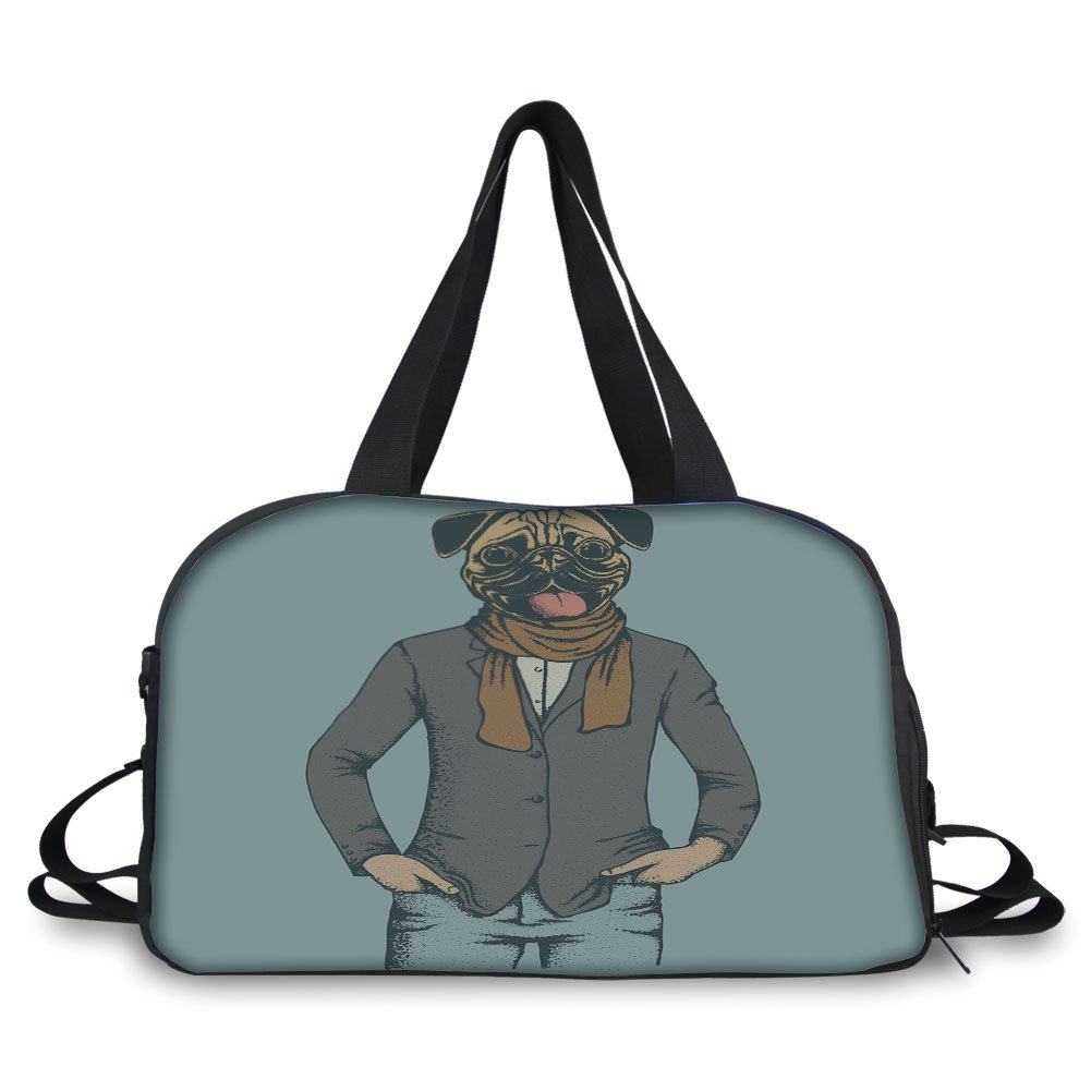 iPrint Travel handbag,Pug,Abstract Image of a Dog with Human Proportions with Jacket Scarf and Jeans Absurd Decorative,Taupe Brown Blue ,Personalized