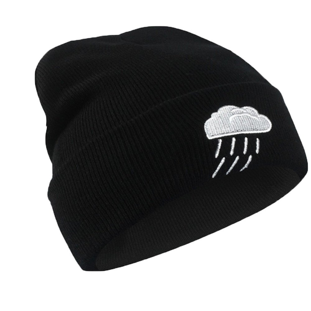 c6ca6aebe7671 TWGONE Women S Black Knit Caps Winter Weather Pattern Knitted Hip Hop Warm  Baggy Cap Wool Hat(One Size