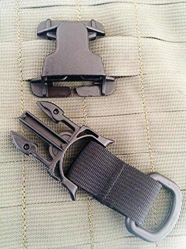 (TWO PART) Black Every Which Way Buckle System Military Tactical T-ring Adaptor for Molle Pals Tring ()
