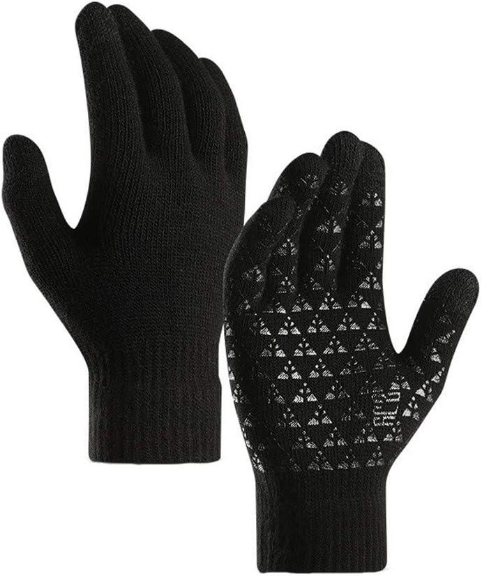 Warm Anti-Slip Gloves Black TwoCC-Mens Winter Wool Gloves