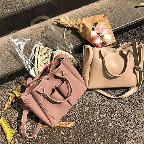 Bolso Hebilla WXINMultibolsillos Pure Casual Hembra Moda Estilo Portable Bag PU Nuevo Color magnetica Madre Pink Purple WXIN Satchel 8fg5xqRx