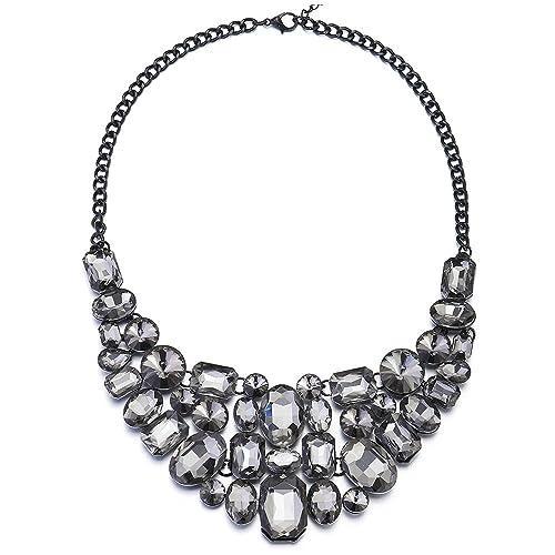 46248345220d iMETACLII Burbuja Cristal Negro Cadena Babero Statement Collar Gargantilla  Choker Colgante Pendientes Set Fiesta  Amazon.es  Joyería