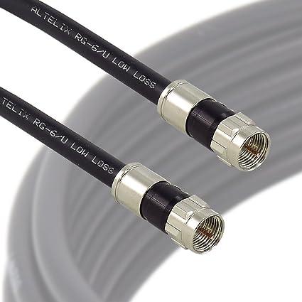 Altelix RG6/U Black Low Loss 75 Ohm Coax Cable with F Male Compression Connectors