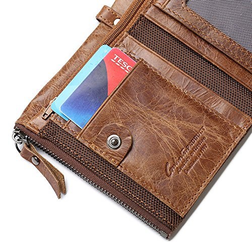 Mens-Wallet-Minimalist-Vintage-Cowhide-Leather-Wallet-With-zipper-pocket-for-men