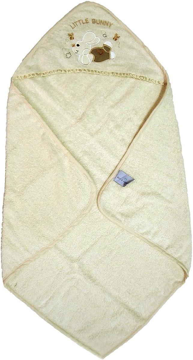 004 baci e abbracci Accappatoio a trinagolo Neonato//a in Spugna idrofila Puro Cotone Art