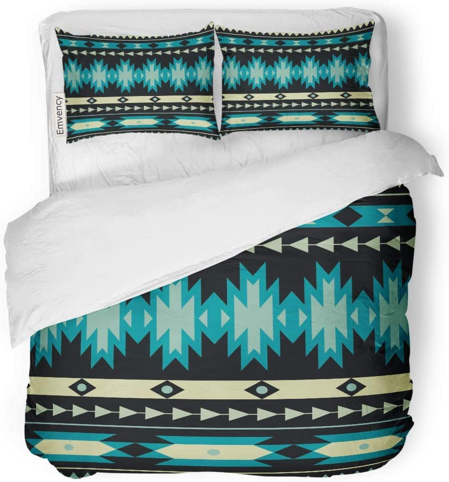 MIGAGA Decor Duvet Cover Set Twin Size Blue Aztec Colorful Ethnic Pattern Tribal Indian Cherokee Line 3 Piece Brushed Microfiber Fabric Print Bedding Set Cover