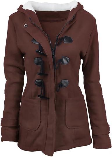 Femme Duffle Coat Manteaux à Capuche Gilet Bouton épais