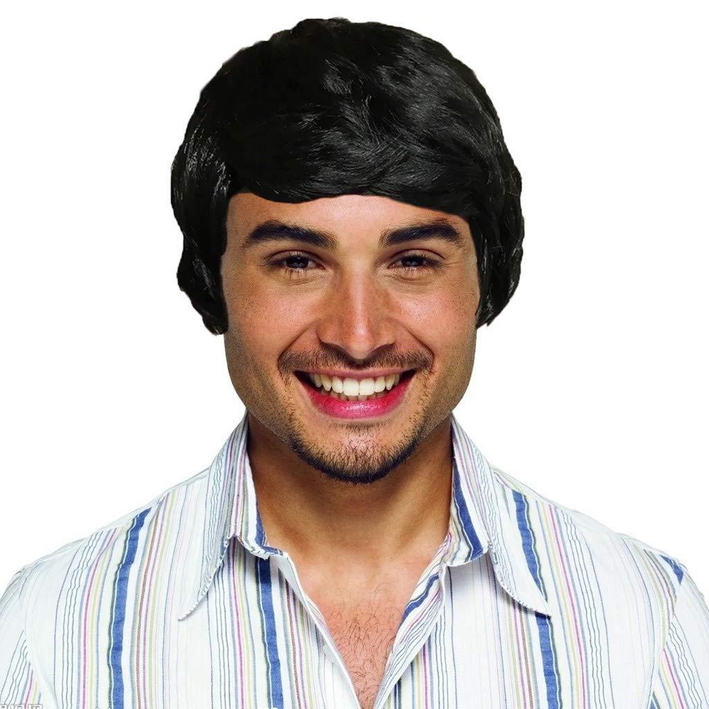 Short Wig for Men Vogue Cosplay Party Costume Handsome Cool Natural Wig (Black)