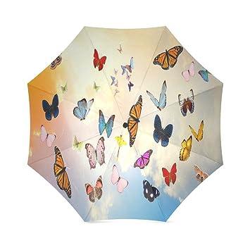ZLF - Paraguas plegable personalizado con diseño de mariposas