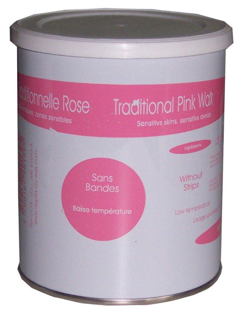 Look Concept–Bote de cera de depilar tradicional rosa para depilación sin bandas (800ml) L.C.I