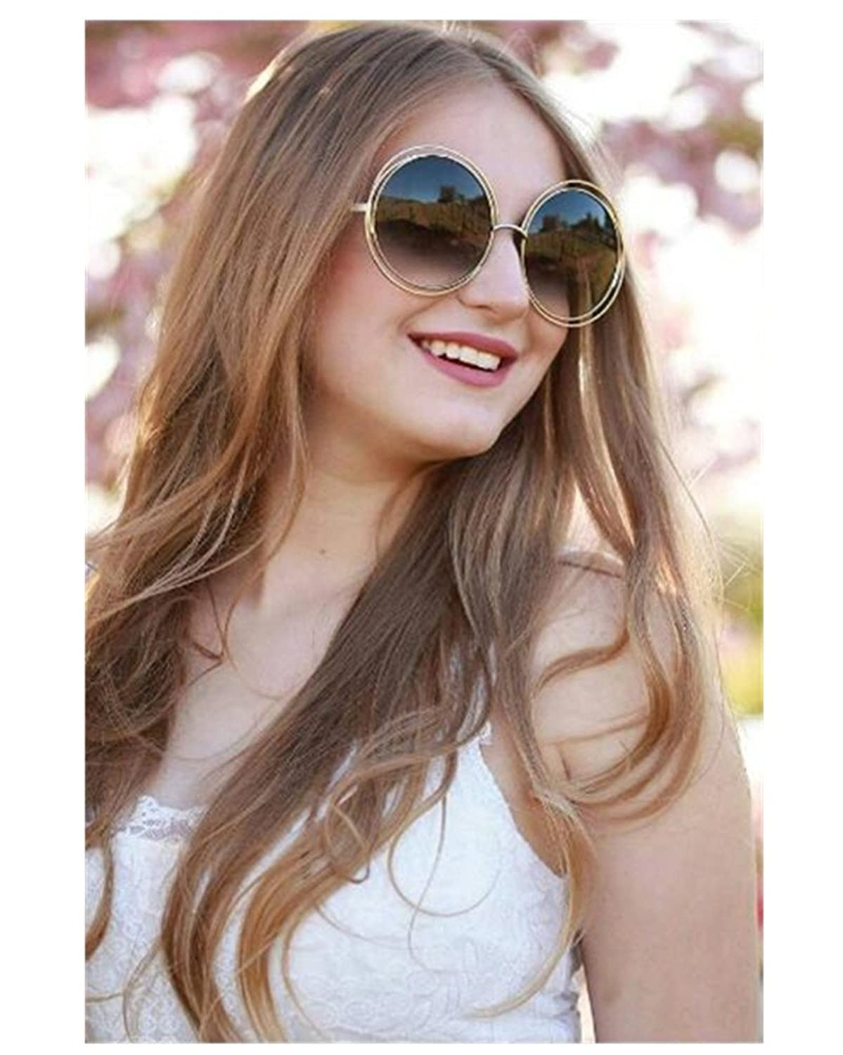 VIVIENFANG Full Metal Double Circle Wire Frame Oversized Round Sunglasses Polarized 86613
